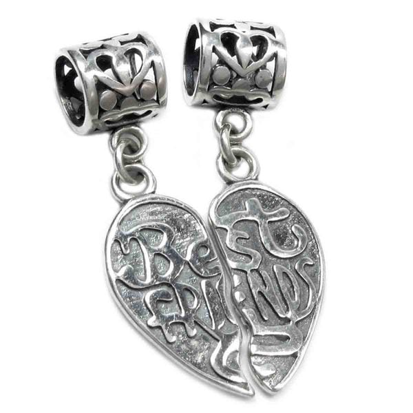 Queenberry Sterling Silver 'Best Friend Forever Together / Apart' Heart European Bead Charm