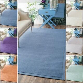 nuLOOM Handmade Solid Border Wool Rug (8' x 10')