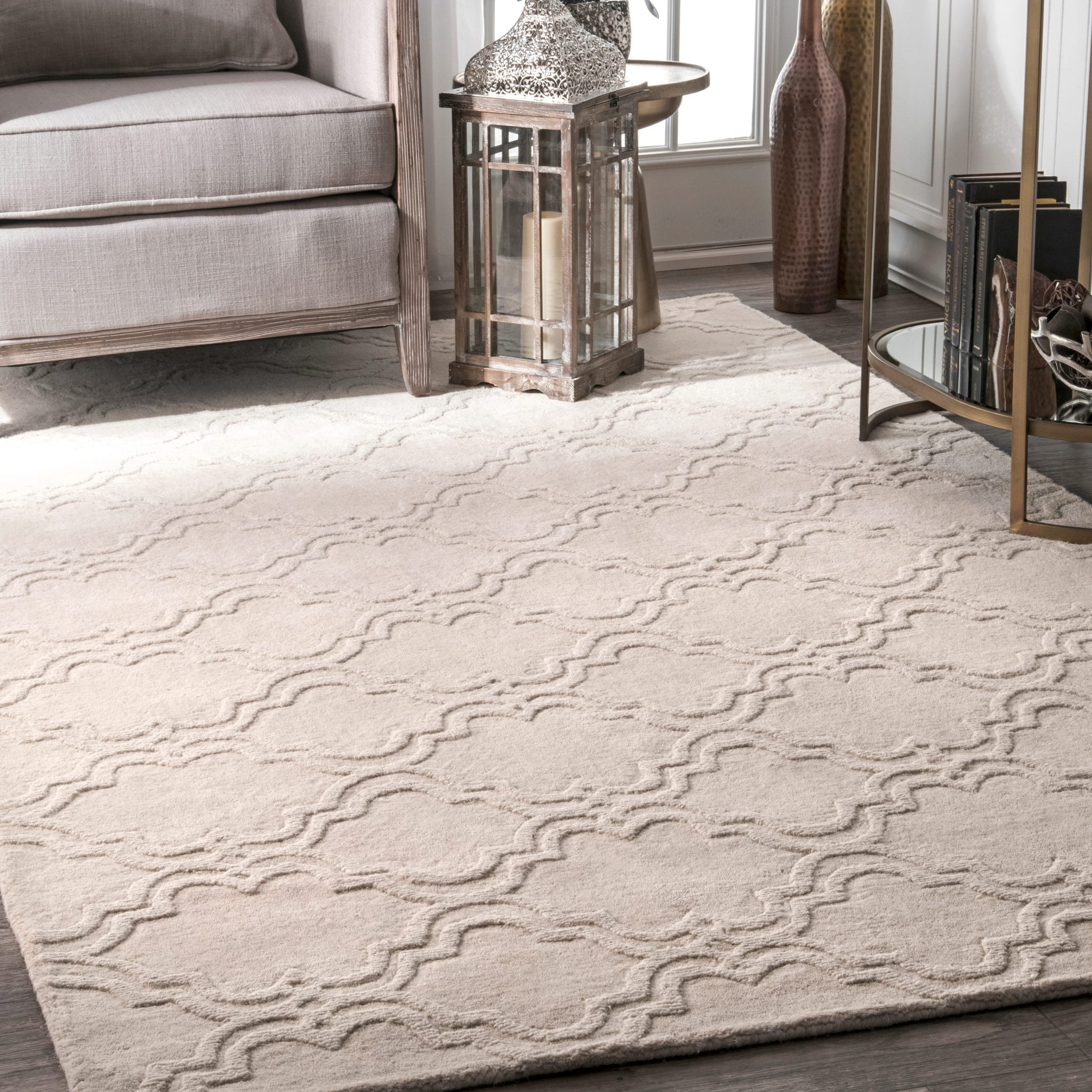 nuLOOM Handmade Modern Trellis Fancy Wool Rug (7'6 x 9'6) | eBay