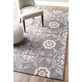 nuLOOM Handmade Modern Floral Abstract Rug (5' x 8')