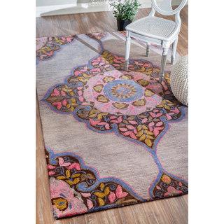 nuLOOM Handmade Transitional Floral Fancy Wool Rug (7'6 x 9'6)