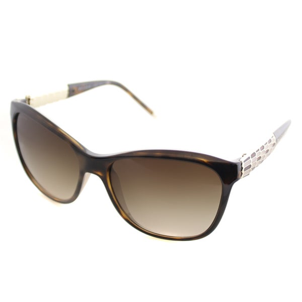 Bvlgari Women's BV 8104 977/13 Havana Plastic Soft Cat-eye Sunglasses