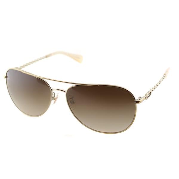 Coach Women's HC 7045 L085 Bree 919113 Gold/ Milky Honey Metal Aviator Sunglasses