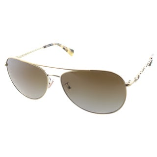 Coach Women's HC 7045 L085 Bree 9190T5 Gold/ Dark Vintage Tortoise Metal Polarized Aviator Sunglasses