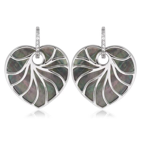 La Preciosa Sterling Silver Mother of Pearl Heart Earrings