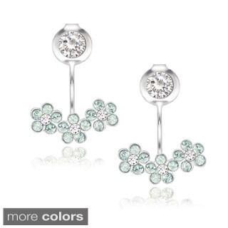 La Preciosa Sterling Silver Crystal Flower Stud Behind-the-ear Earrings