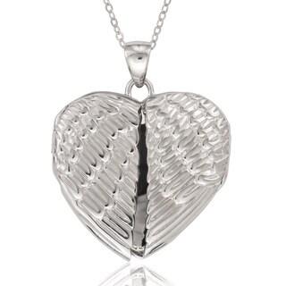 La Preciosa Sterling Silver Angel Wings Heart Locket