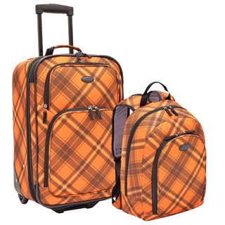 U.S. Traveler by Traveler's Choice Orange Plaid 2-piece Carry-on Rolling Upright and Backpack Luggage Set