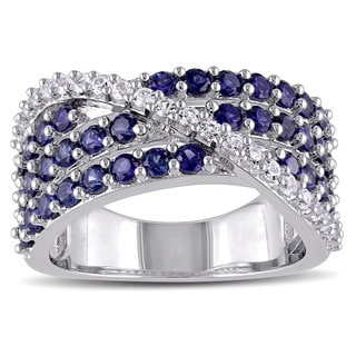 Miadora Sterling Silver Created Blue and White Sapphire Cross-over Ring