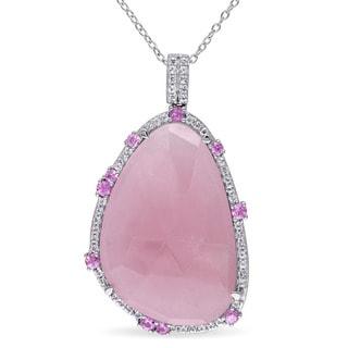 Miadora Sterling Silver Rose-cut Guava Quartz Pink Sapphire and White Topaz Necklace