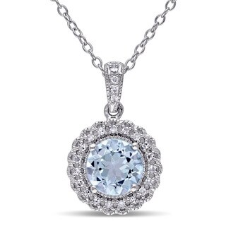 Miadora Sterling Silver Blue Topaz 1/10ct TDW Diamond Halo Necklace (G-H, I2-I3)