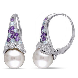 Miadora Sterling Silver Freshwater Pearl Gemstone and Diamond Accent Earrings (8-8.5 mm)