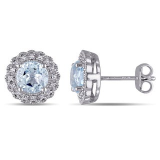 Miadora Sterling Silver Blue Topaz 1/10ct TDW Diamond Halo Earrings (G-H, I2-I3)