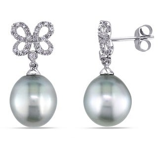 Miadora 10k White Gold Tahitian Platinum Pearl 1/5ct TDW Diamond Butterfly Dangle Earrings (G-H, I2-I3) (9.5-10 mm)