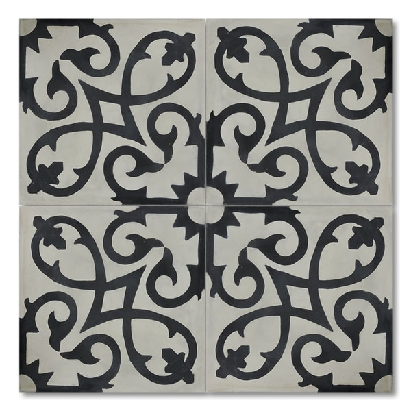 Pack of 12 Agadir Black/ White Handmade Cement/ Granite Moroccan Tile 8-inch x 8-inch Floor/ Wall Tile (Morocco)