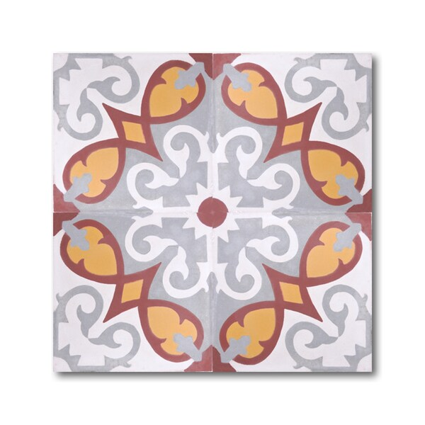 Pack of 12 Agadir Grey/ Gold Handmade Cement/ Granite Moroccan Tile 8-inch x 8-inch Floor/ Wall Tile (Morocco)