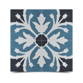 Pack of 12 Marjana Fleur Handmade Cement/ Granite Moroccan Tile 8-inch x 8-inch Floor/ Wall Tile (Morocco)