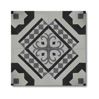 Pack of 12 Bouman Black/ Grey Handmade Cement/ Granite Moroccan Tile 8-inch x 8-inch Floor/ Wall Tile (Morocco)