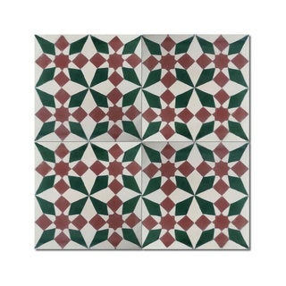 Pack of 12 Joana Green/ Brown Handmade Cement/ Granite Moroccan Tile 8-inch x 8-inch Floor/ Wall Tile (Morocco)