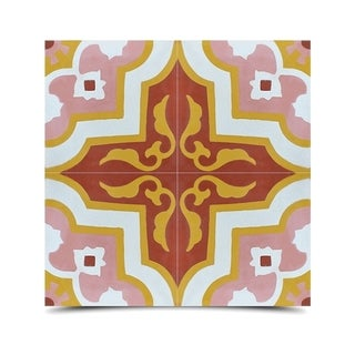 Pack of 12 Taza Pink/ Brown Handmade Cement/ Granite Moroccan Tile 8-inch x 8-inch Floor/ Wall Tile (Morocco)
