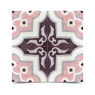 Pack of 12 Taza Pink/ Grey Handmade Cement/ Granite Moroccan Tile 8-inch x 8-inch Floor/ Wall Tile (Morocco)