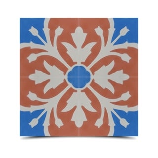 Pack of 12 Marjana Blue/ Orange Handmade Cement/ Granite Moroccan Tile 8-inch x 8-inch Floor/ Wall Tile (Morocco)