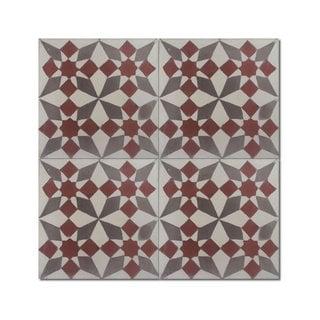 Pack of 12 Joana Grey Stars Handmade Cement/ Granite Moroccan Tile 8-inch x 8-inch Floor/ Wall Tile (Morocco)