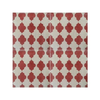 Pack of 12 Tafraout Red Marrakech Handmade Cement/ Granite Moroccan Tile 8-inch x 8-inch Floor/ Wall Tile (Morocco)