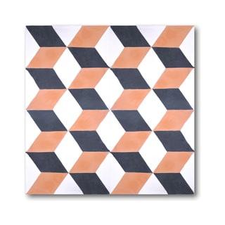 Pack of 12 Bahja Brown/ Black Handmade Cement/ Granite Moroccan Tile 8-inch x 8-inch Floor/ Wall Tile (Morocco)
