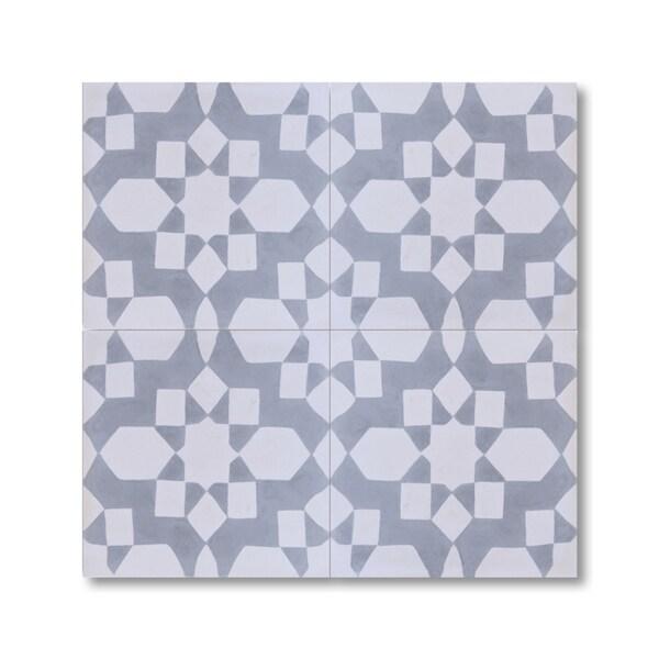 Affos White Grey Handmade Cement Granite 8 X 8 Inch