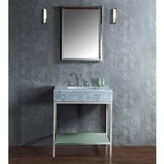 Brightwater 30-inch Marble/ Steel/ Glass Free-standing Single-sink Bathroom Vanity Set
