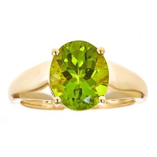 Anika and August 14k Yellow Gold Oval-cut Peridot Ring