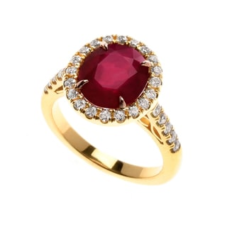 18k Yellow Gold Enhanced Ruby 1/2ct TDW Diamond Halo Ring (G, VS1-VS2) (Size 7)