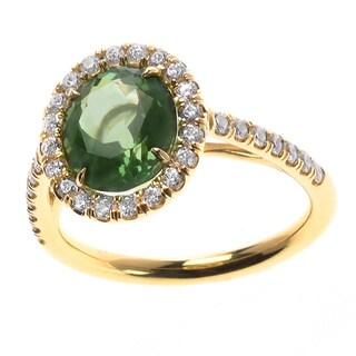 18k Yellow Gold Green Tourmaline 1/2ct TDW Diamond Halo Ring (G, VS1-VS2) (Size 7)