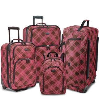 U.S. Traveler by Traveler's Choice Camarillo Pink Plaid 4-piece Casual Luggage Set