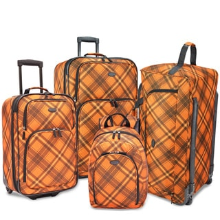 U.S. Traveler by Traveler's Choice Camarillo Orange Plaid 4-piece Casual Luggage Set