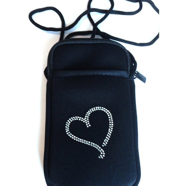 Luggage Spotter Pami Pocket Jeweled Heart Black Neoprene Crossbody Smartphone Purse