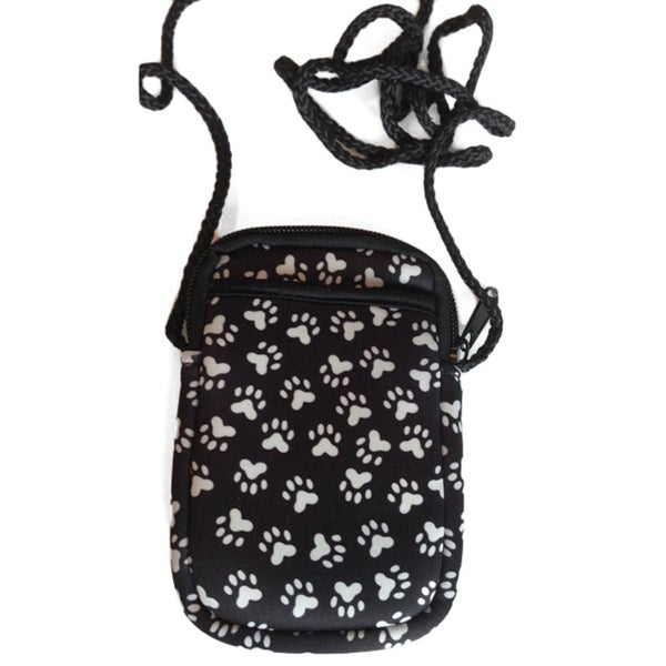 Luggage Spotter Pami Pocket Paw Print Black Neoprene Crossbody Smartphone Purse