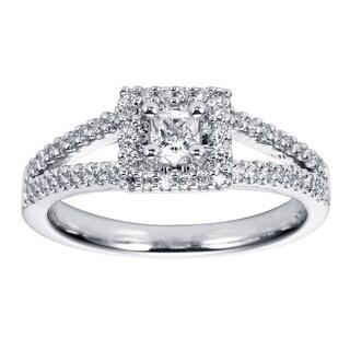 14k White Gold Cubic Zirconia 1/4ct TDW Diamond Split Shank Engagement Ring (H-I, I1-I2)