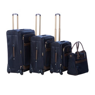 Anne Klein Navy Newport 4-piece Expandable Spinner Luggage Set