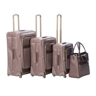 Anne Klein Taupe Newport 4-piece Expandable Spinner Luggage Set
