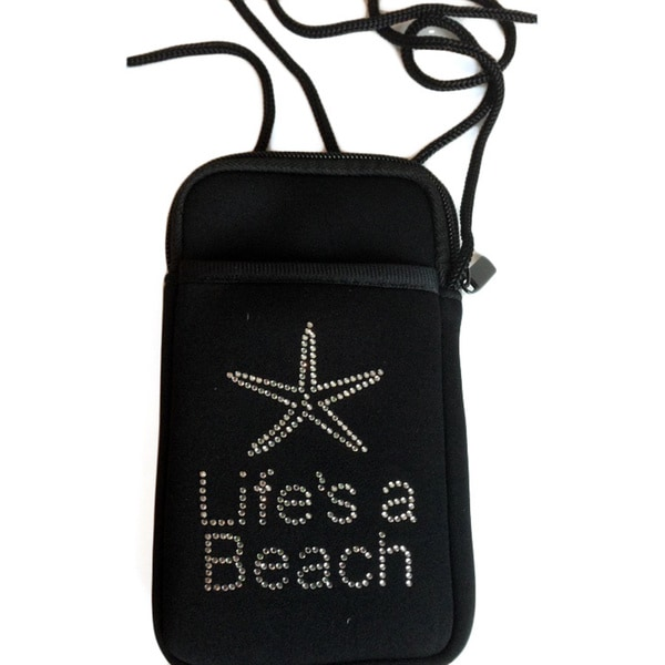 Luggage Spotter Pami Pocket Jeweled 'Life's A Beach' Neoprene Crossbody Smartphone Purse