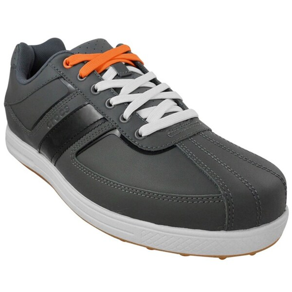 Crocs Men's Tyne Lo Pro Golf Charcoal/Pumpkin Shoes