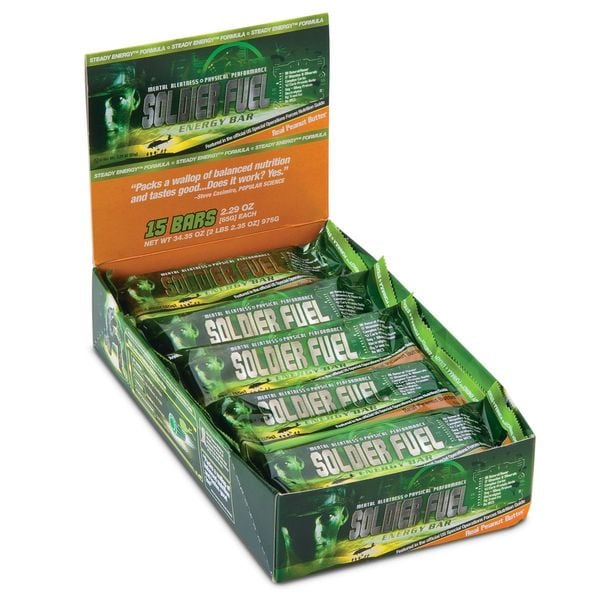 Soldier Fuel Real Peanut Butter Energy Bars (Box of 15)