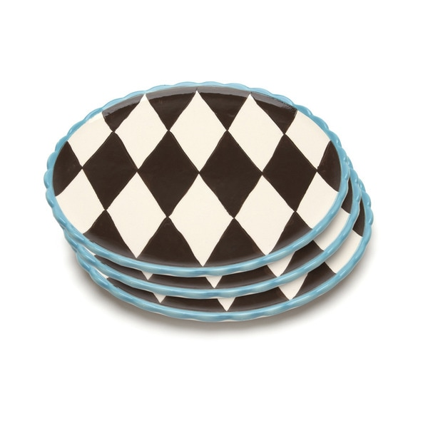 Blue Brulee Dinner Plates in Losange Pattern with Blue Border by La Cote  (Set of 3) 15373061
