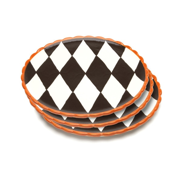 La Cote Blue Brulee Dinner Plates in Losange Pattern with Orange Border (Set of 3) 15373080