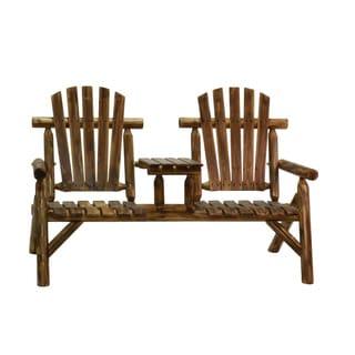 Log Two Seat Bench - Oak