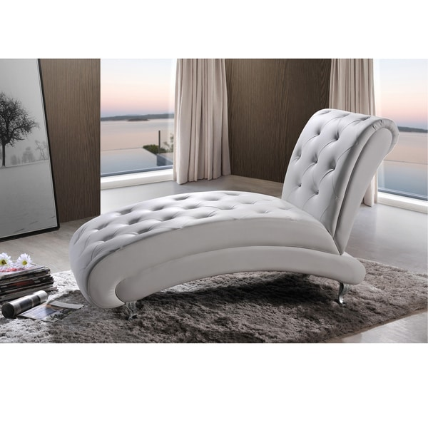 Small Chaise Sofa In A White Faux Leather Fabric: Baxton Studio Pease Contemporary White Faux Leather