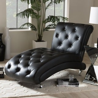 Baxton Studio Pease Contemporary Black Faux Leather Upholstered Crystal Button Tufted Chaise Lounge
