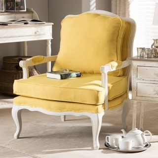 Antoinette Traditional Classic Antiqued French Yellow Accent Chair